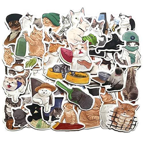 50PCS Kawaii Animal Cat Sticker Scrapbooking For DIY Laptop PC Phone Guitar Suitcase Luggage Cute Cartoon Decals Stickers F5