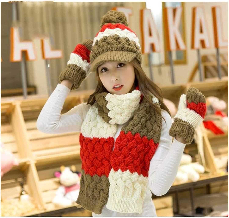 HENGXIANG よだれかけ節 - スカーフ女の子の冬の誕生日クリスマスギフトイエローマッチングウールの帽子スカーフ手袋スリーピーススーツワンカラー