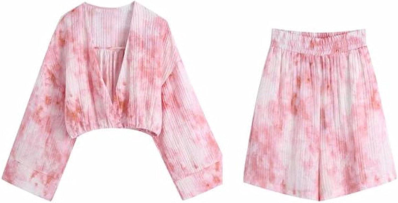 Vintage V Neck Pink Tied Dyed Short Blouse Over item handling ☆ Max 57% OFF Female Printing Smock