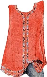 Mogogo Womens Crewneck Folk Style Printing Sleeveless Tunic Top Tees