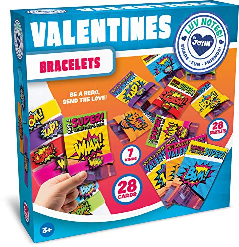 Check Out This JOYIN 28 Pack Valentines Day Gift Cards With Gift Superhero Quote & Saying Rubber Sla...