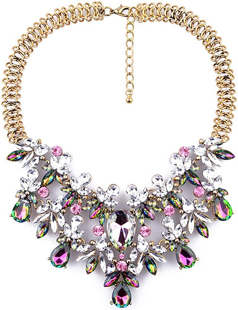 YAZILIND Retro Exaggerated Color Gemstone Collar Necklace Short Clavicle Neck Chain Accessories