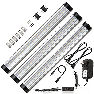 Ustellar LED Under Cabinet Lighting Kit, 12in Under Counter Lighting, Closet Light, All Accessories Included, 3000K Warm White