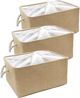 Mangata Paniers de Rangement en Tissu, Lot de 3 boîtes de Rangement avec Fermeture à Cordon pour Armoire à vêtements et ét...