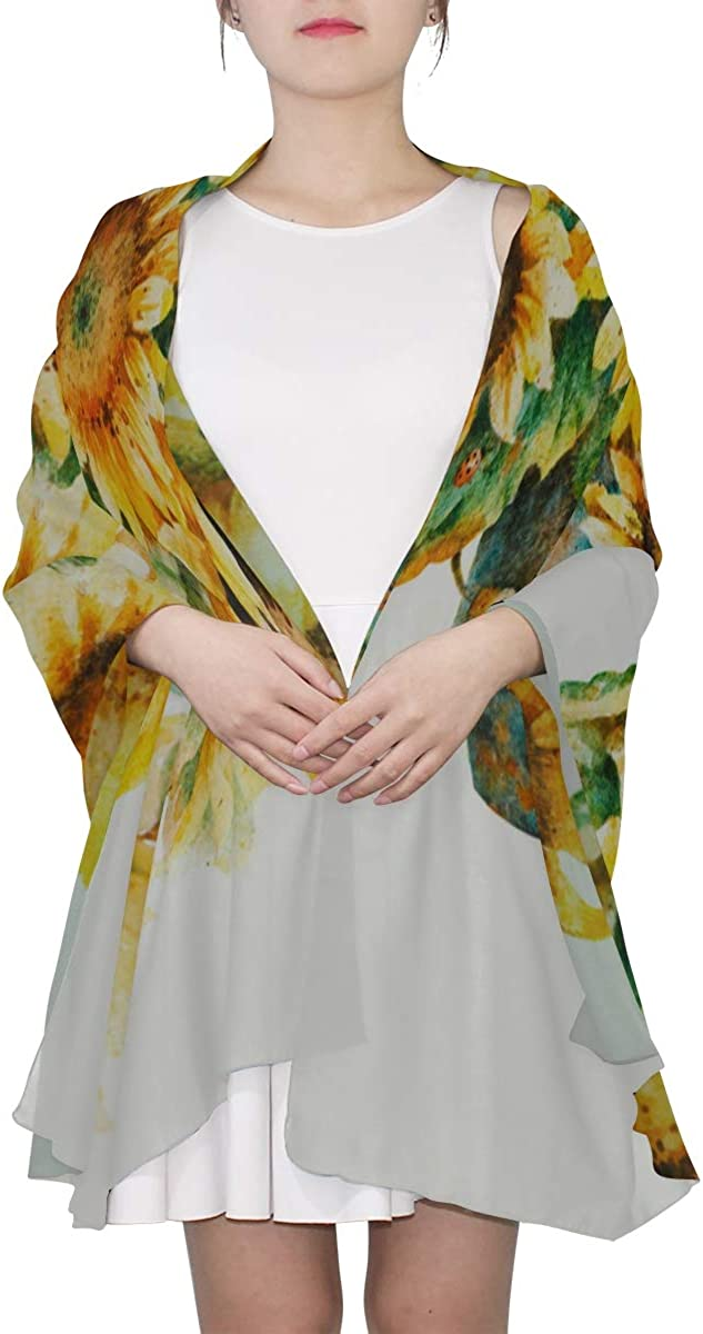 Hand-painted Sunflower Painting Unique Fashion Scarf For Women Lightweight Fashion Fall Winter Print Scarves Shawl Wraps Gifts For Early Spring