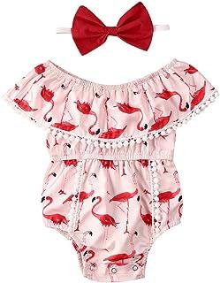 Newborn Baby Girls Romper Flamingo Tassel Onesies Off-Shoulder Jumpsuit with Headband Summer Clothes