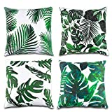 Lauren 4 Pcs Tropical Leaves Throw Pillow Cover Green Palm Leaves Cushion Cover Square Pillow case Ideas Home Decor for Sofa, Couch, Bed and Car 18 x 18 Inch