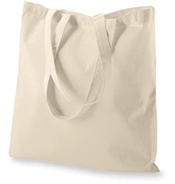 Atmos Green 5 pack 15 X 16 inch with long handle NATURAL Color 5.5 oz 100% cotton reusable grocery bags eco friendly super strong great choice for promotion branding gift MADE in INDIA