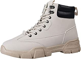 Men's Fashion Flat Retro High-top Hiking Shoes Outdoor Lace-up Suede Motorcycle Boots Casual Tooling Boots