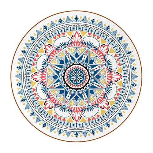 Juego de 6 posavasos redondos con soporte para casa y cocina, estilo indio, mandala bohemia floral