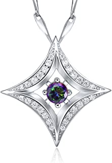 925 Sterling Silver Women Simulated Blue Sapphire Charms CZ Pendant Necklace Chain 18 Inch