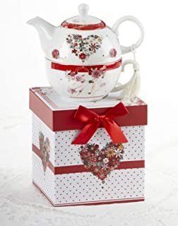 Delton Products 8149-8 Porcelain Tea For One, Floral Heart, 5.8 inch