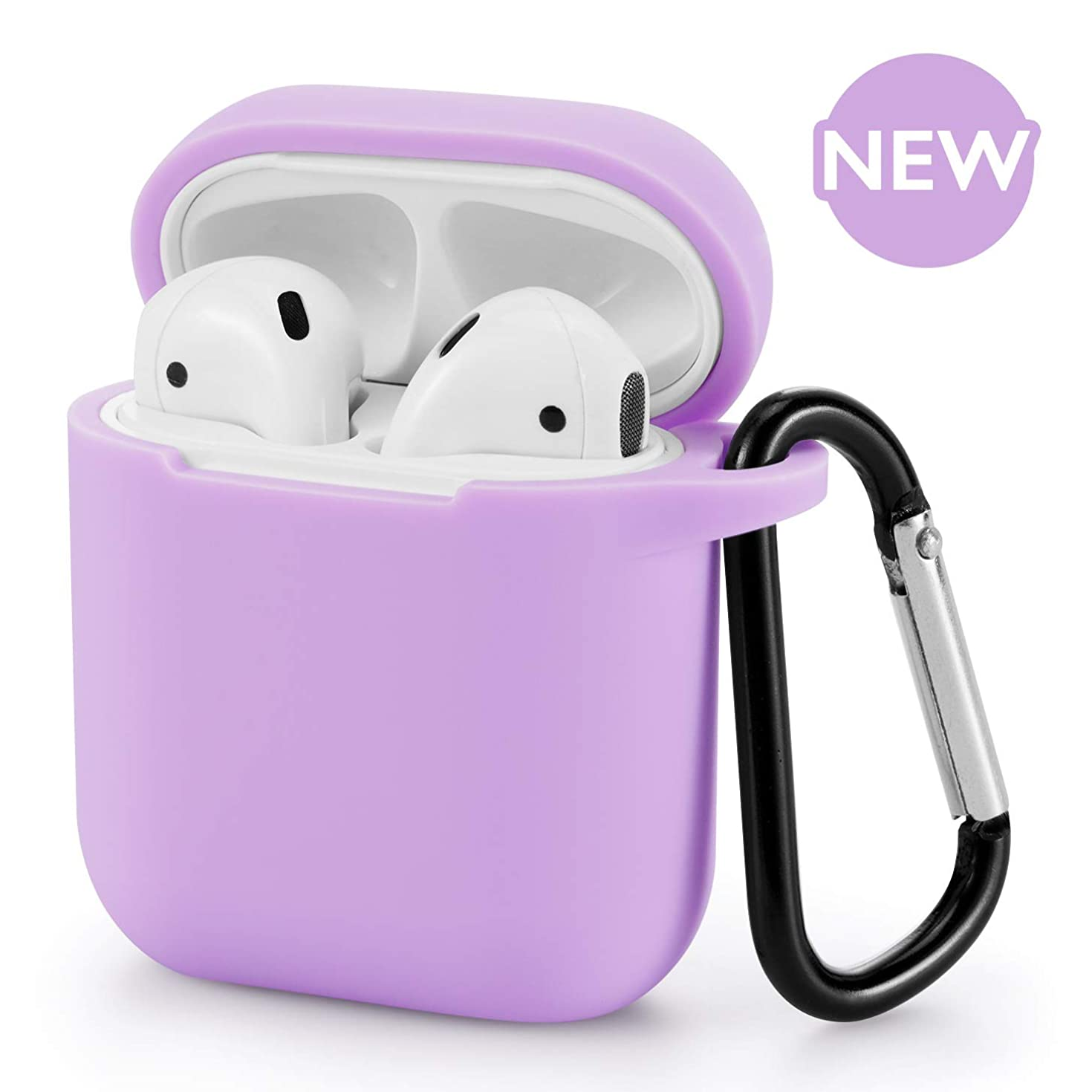 AirPods Case - BLUEWIND AirPod Case Silicone Cover 2019 Newest 360° Protective Cases Compatiable with Apple AirPods 2nd/1st (Light Purple)