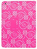 Samrick Bling Diamante Floral Flowers Executive Specially Designed Leather Book Wallet Case with Viewing Stand, Screen Protector, Microfibre Cloth for Apple iPad Air - Pink