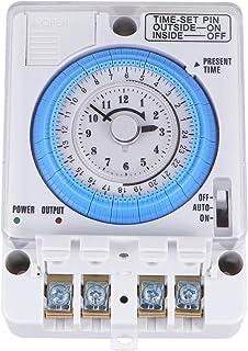 ULTECHNOVO Mekanisk tid kontrollomkopplare 12 VAC/DC exakt timer tidemekantimerbrytare för hem, kök, inomhus, utomhus (vit)