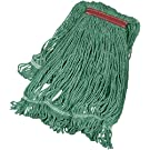 AmazonBasics Loop-End Synthetic Commercial String Mop Head, 1.25 Inch Headband, Large, Green, 6-Pack