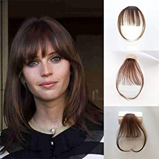 Vowinlle Real Human Hair Bangs #6 Light Brown Clip in Bangs Human Hair with Temples Fringe Hair Extensions