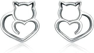 Cute Cat Earrings Stud Pearl Earrings for Women Mouse Cubic Zircon Hypoallergenic Earrings Christmas Birthday Gift