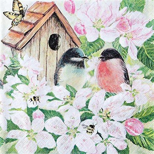 20 servetten vogelhuisje aan bloemen/vogels/dieren 33x33cm