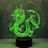 Jinson well Lámpara 3D dinosaurio dragón, ilusión óptica, luz nocturna, 7 cambios de color, interruptor táctil, mesa de escritorio, lámpara decorativa con base acrílica de ABS, USB, juguete