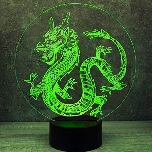 Jinson well 3D dinosaurier Drache Lampe optische Illusion Nachtlicht, 7 Farbwechsel Touch Switch Tisch Schreibtisch Dekoration Lampen mit Acryl Flat ABS Base USB Spielzeug