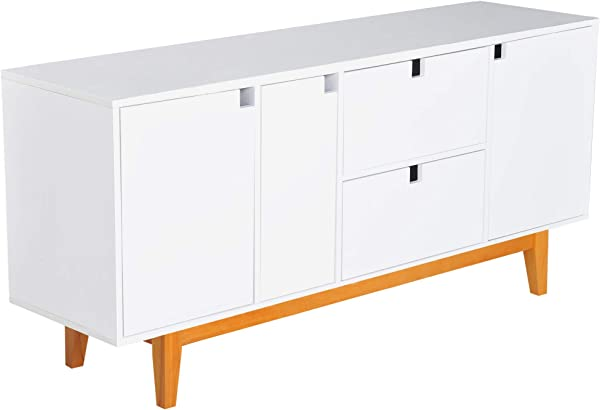 HOMCOM 57 Two Tone Contemporary Sideboard Buffet Table Storage Cabinet White