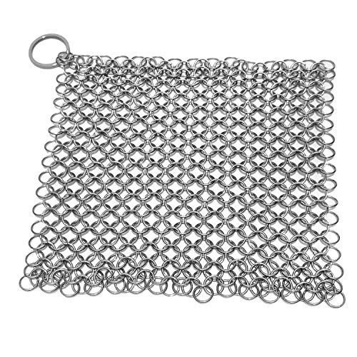 Stainless Steel 316L Cast Iron Cleaner Chainmail Scrubber for Waffle Iron Pans,Seasoned Pan,Grill - Best Pot Brush (6×6 inch)