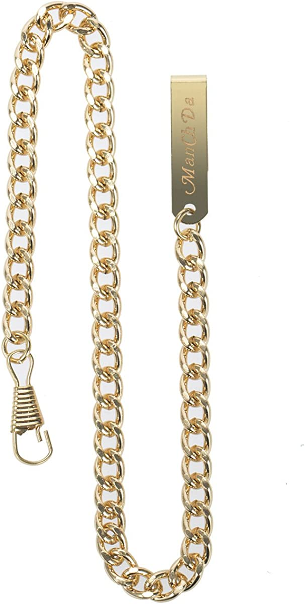 ManChDa Antique Stainless Steel Chain for Pocket Watch Gold-Plated 14Inch : Clothing, Shoes & Jewelry