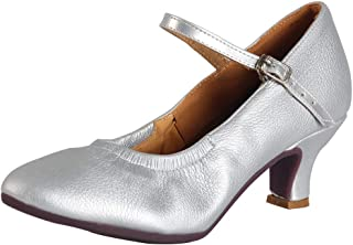 HIPPOSEUS Womens Latin Dance Shoes Heeled Ballroom Salsa Tango Party Leather Dance Shoes Closed Toes,Model CMJ5003