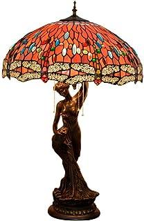 QGL-HQ Style Tiffany Lampe de Table, Libellule Rouge GlassShade Lampe de Bureau, Vintage Décoration Nuit/Chevet léger avec...