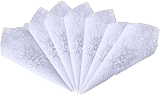 Ladies/Womes White Embroidery Cotton Handkerchiefs Wedding Hankies