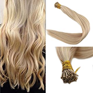 Full Shine I Tip Hair Blonde Fusion Hair Extensions Remy 18 Inch 1 Gram Per Strand 50 Gram Per Package Pinao Color 18 Ash Blonde And 613 Blonde Highlight Pre bonded I Tip Hair Extensions