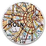 Impresionantes pegatinas de vinilo (juego de 2) 25 cm – Colonia Koln Alemania, mapa de viajes divertido para portátiles, tabletas, equipaje, reserva de chatarras, frigoríficos, regalo fresco #44643