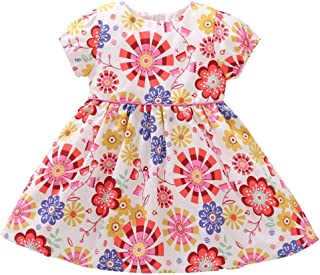snowvirtuosau Short Sleeve Sweet Cute Dresses Baby Girls Cotton Casual Daily A-line Dress