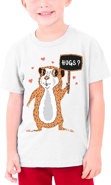 Guinea Pig Free Hug Boys Girls Tshirts Short Sleeve Cotton T-Shirt Youth Tees Tops