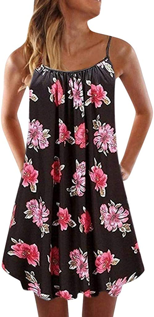 Womens Summer Dress Casual Sleeveless Mini Floral Printed Plain Pleated Tank Vest Dresses for Women