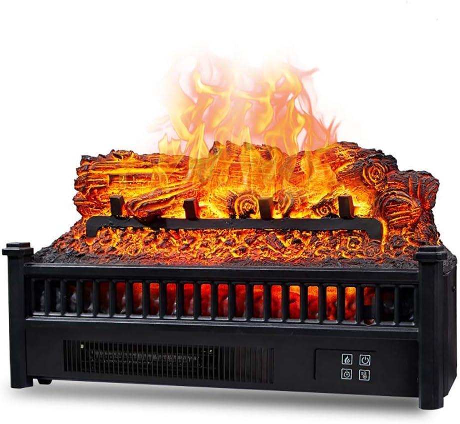 JHSHENGSHI Eternal Flame Chimenea eléctrica Calefacción de leña Chimenea eléctrica Inserto Madera Cuarzo Calentador de Ventilador de Cama de brasas Realista con Control Remoto infrarrojo Negro