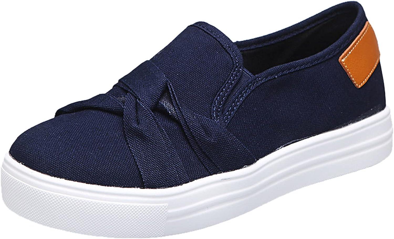 Flat Women Shoes Linen Canvas Slip On Loafers Comfortable Memory Foam Gel Insoles No-Tie Laces Cute Design
