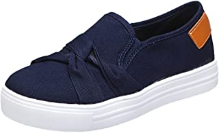 lcybem sans Lacets Baskets Femme Casual Mode Chaussures Plate Chaussures de Sport Nœud Papillon Toile Sneakers
