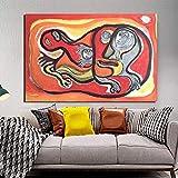 YuanMinglu Cartel Retro Lienzo Pintura mármol Pintura Arte de la Pared Pintura Pintura Decorativa Moderna decoración del hogar Pintura sin Marco 45x69cm