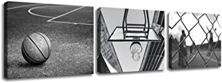 KLVOS 3 Panels Black and White Wall Art Antique Basketball and Low Angle View Basketball Hoop Sport Canvas Art Modern Home Decor Framed for Boys Room Ready to Hang (12