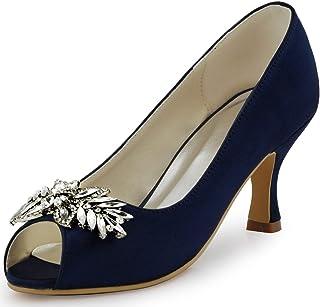 ElegantPark Women Peep Toe Pumps Leaf Rhinestones Comfort...