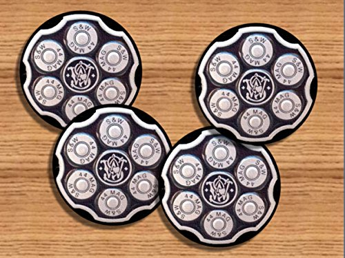 Smith & Wesson Revolver Chamber Loaded with 44 Mag. Bullets Neoprene Coaster Set of 4