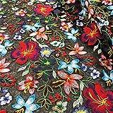 CHWK 2020 Nueva Tela de Encaje para el Vestido, Tela de Material de Costura de Retazos Bordados de Flores de Tul Negro de Malla de Tejido de tisú, Ancho, 123 cm, múltiples, 1 yardas-90 cm x 123 cm