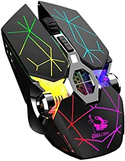 Elf Cat Wireless Gaming Mouse, RGB Multi-Colour Backlit Game Mice, Rechargeable Silent Mouse, 8 Buttons 2400 DPI for Noteb...