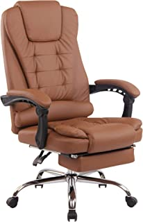 CLP Silla de oficina Oxygen con ruedas ligeras, piel sintética, tela, silla de oficina con respaldo, altura regulable, con reposapiés, color: marrón claro, material: piel sintética