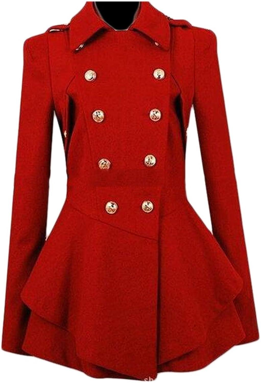 CRYYUWomen Lapel Wool Blended DoubleBreasted Dress Outwear Pea Coats