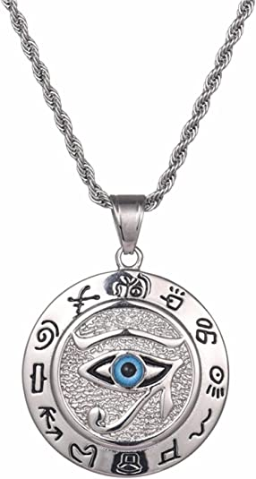SWAOOS Egyptian The Eye of Horus Pendant Necklace for Women/Men Resale Gold Stainless Steel Evil Eyes Necklace Egypt Round Jewelry 50cm