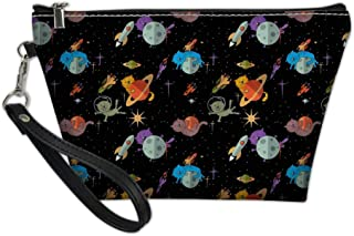 YORXINGY Small Cute Make up Pouch for Purse Makeup Brushes Travel Organizer Toiletry Pouch Kids Boys Waterproof Cosmetic-Bag Space Cat