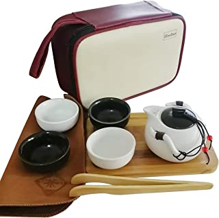 Hoobar Chinese Kungfu Tea Set Portable Ceramic Teacup Set Hand Made Gongfu Teapot Kit with a Travel Bag 4 Cups (White+Black)